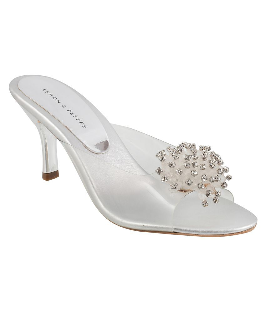 a65b2b86522750 Lemon   Pepper Silver Kitten Heels Price in India- Buy Lemon   Pepper Silver  Kitten Heels Online at Snapdeal