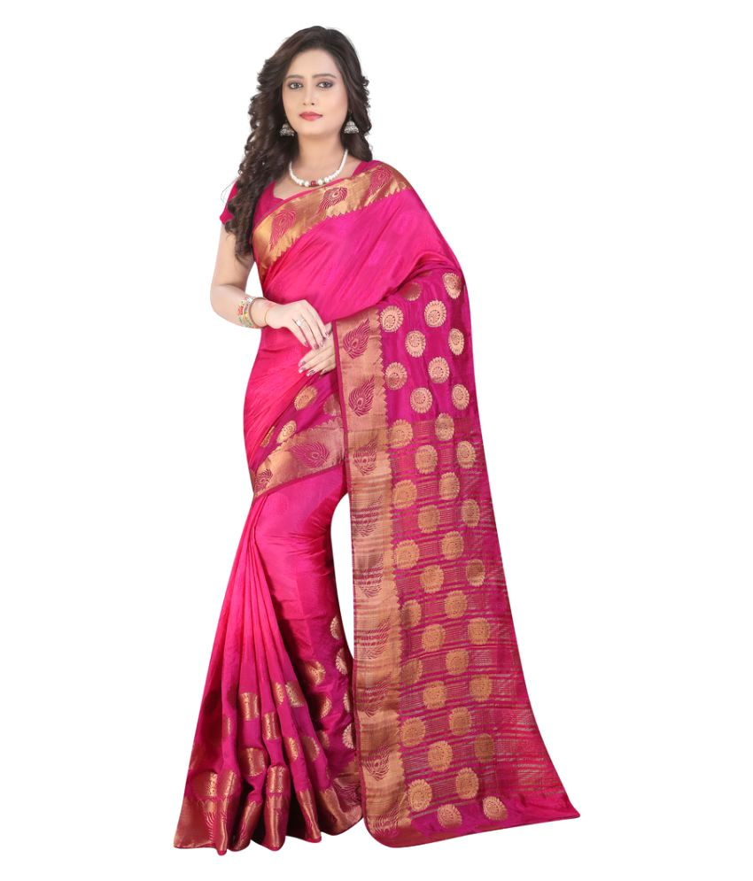 Well Tex Pink Banarasi Silk Saree