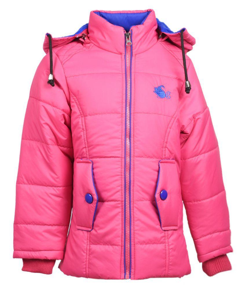 MSG Pink Full Sleeve Jacket For Girls