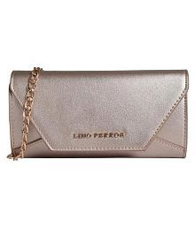 Lino Perros Brown Faux Leather Box Clutch
