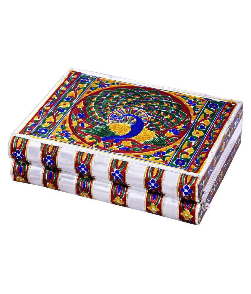 Kiran Udyog Colorful Mayur Meenakari Work Blue Jewellery Box