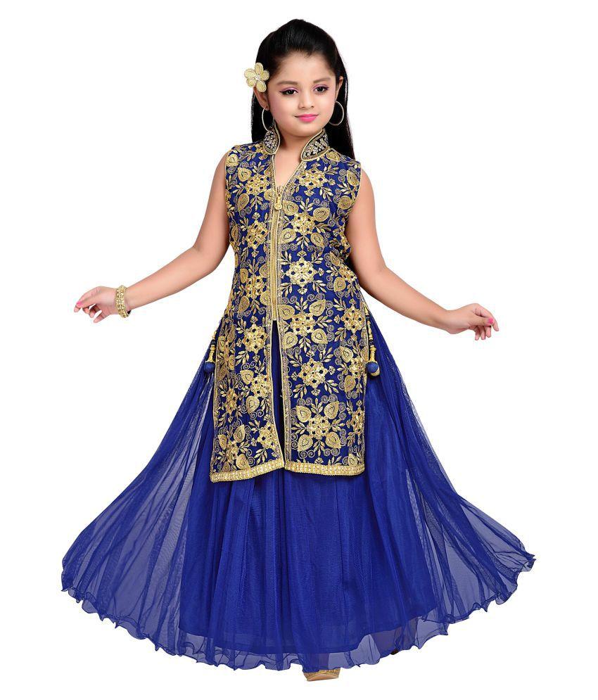 353121242dc Aarika Floral Print Net and Satin Party Wear Ball Gown - Buy Aarika ...