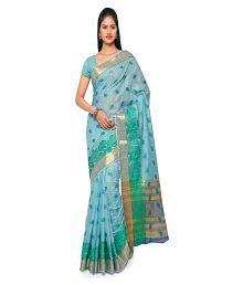 Varkala Silk Sarees Turquoise Chanderi Saree