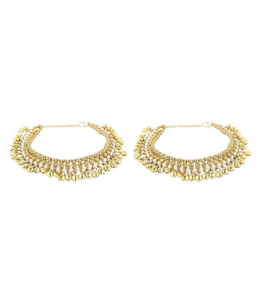 Fashions 24x7 Golden Anklets