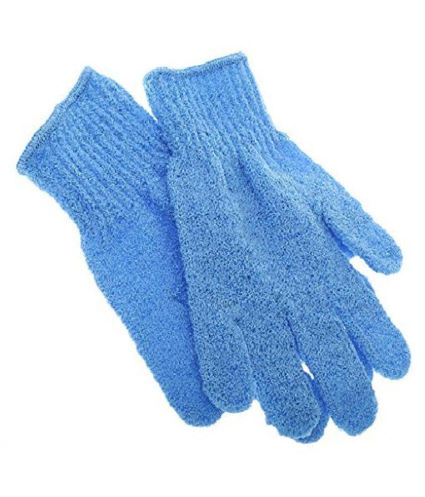 2 Blue Pink Bath Gloves Shower Face Skin Body Wash Massage Loofah Scrub