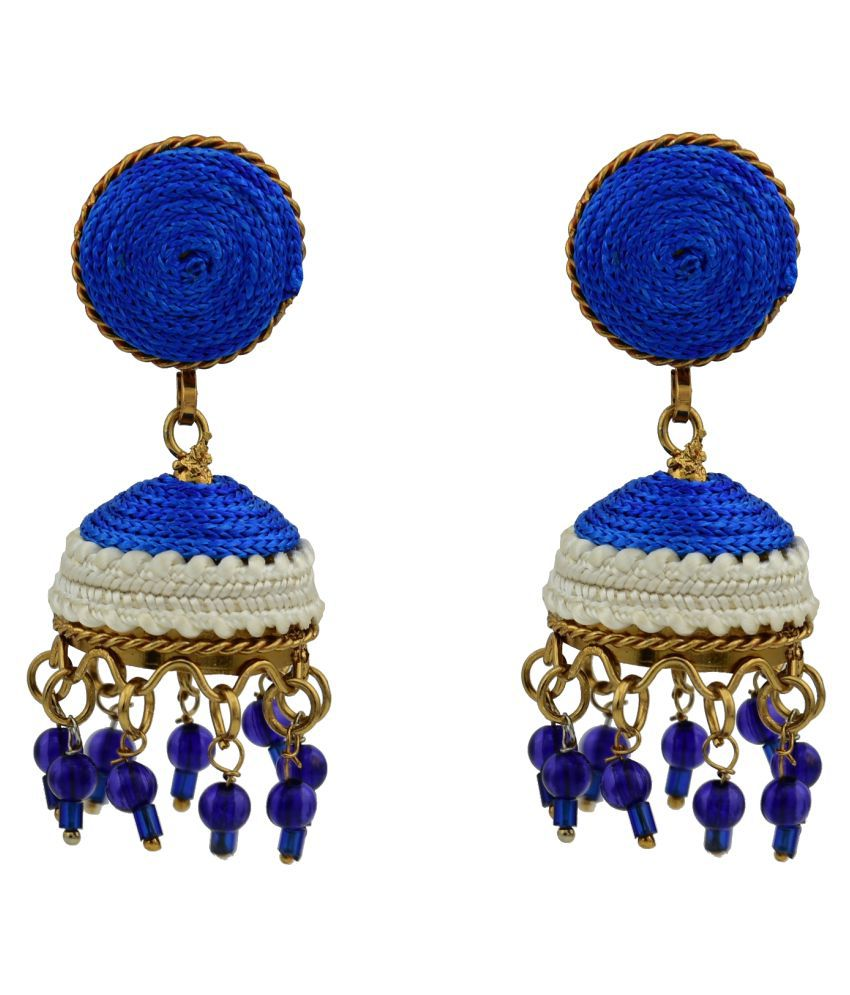 High Trendz Multi Color Jhumki Traditional Silk Thread Jewellery Stylish Fancy Party Wear Single Pair Earrings For Girls and Women