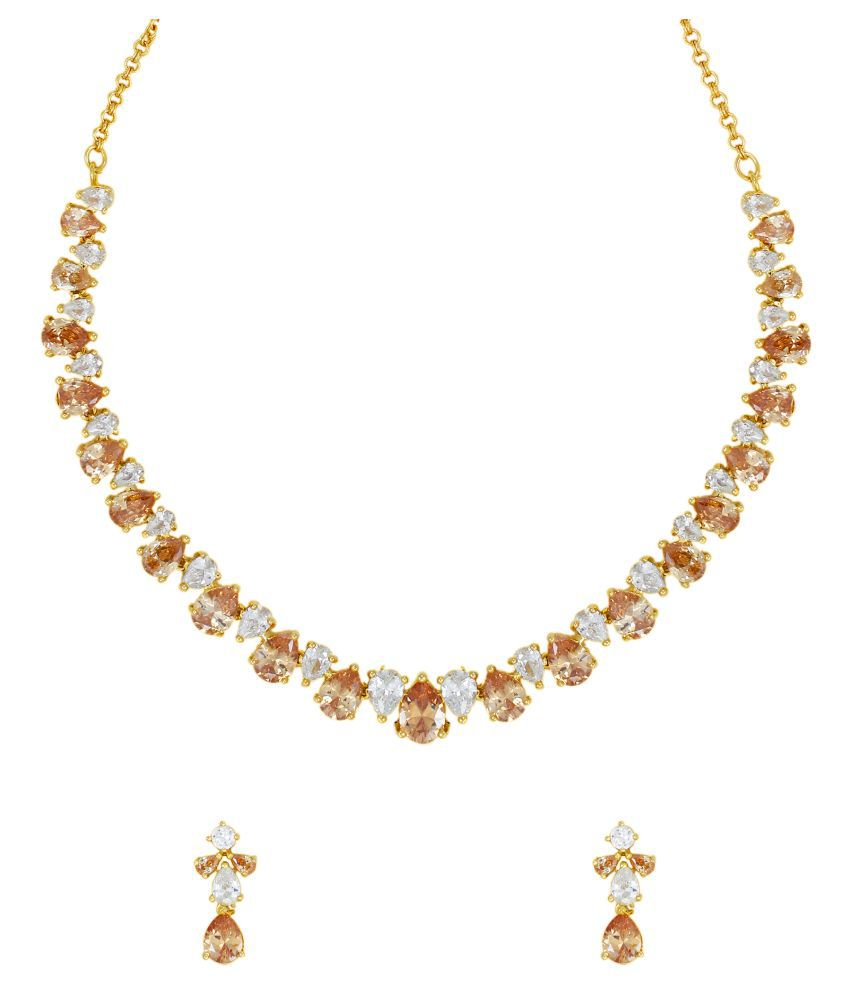 Zaveri Pearls Golden Brass Necklace Set