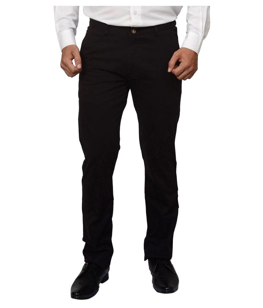 Khaki Blue Black Regular Flat Trousers