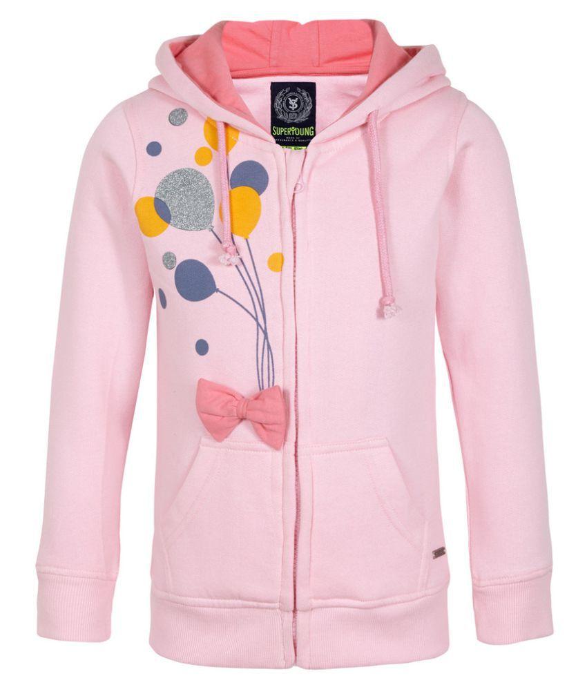 Superyoung Pink Cotton Blend  Baloon Printed Sweatshirt