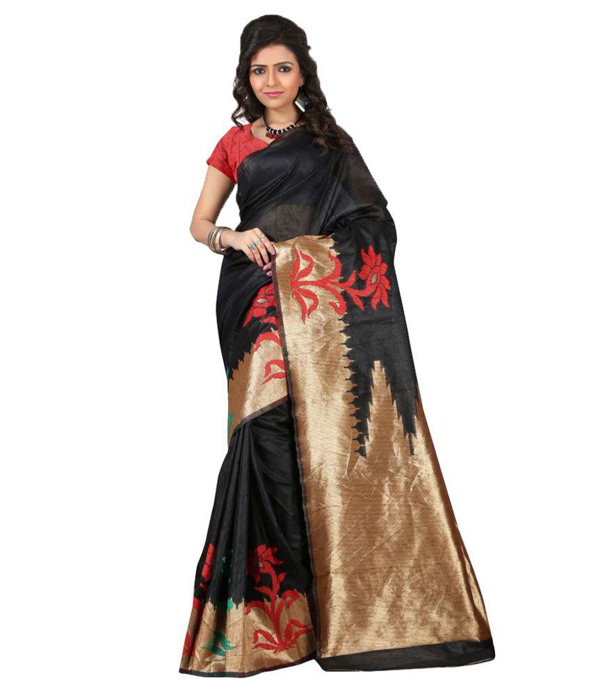 Jay Fashion Black Art Silk Saree