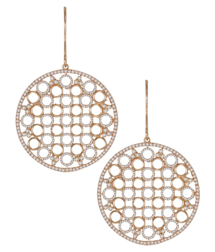 Zaveri Pearls Rose Gold Brass Hanging  Earring