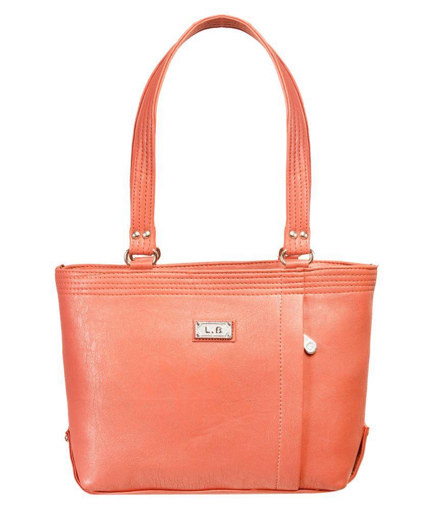 Louise Belgium Orange Faux Leather Shoulder Bag