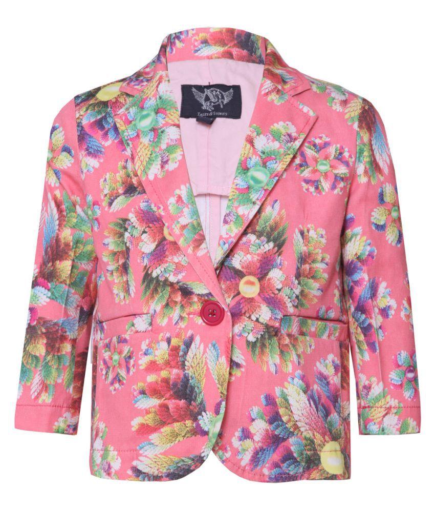 Tales & Stories Pink Cotton Flower Print Blazer