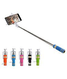 Rooq Assorted Colors Selfie Stick with Auxillary Cable