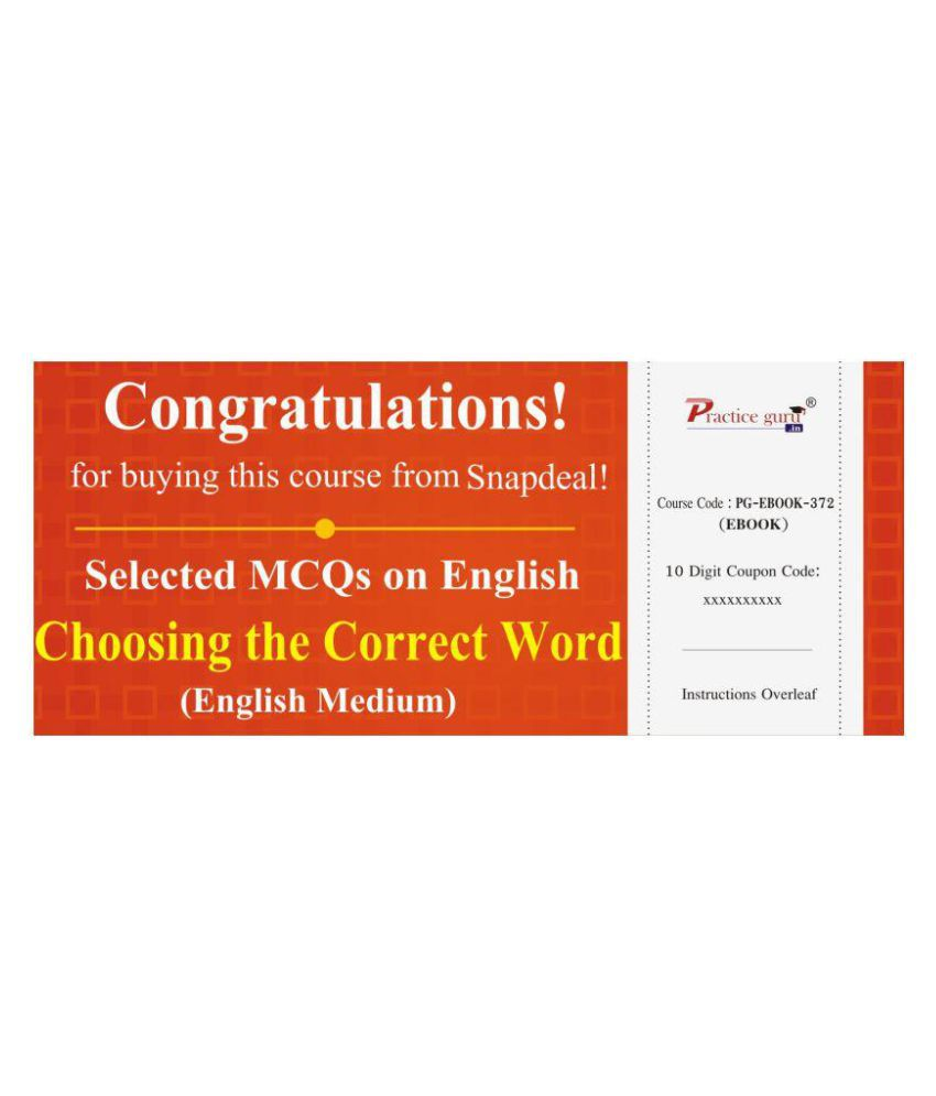 Selected MCQs on English - Choosing the Correct Word License/Redemption Code - Online