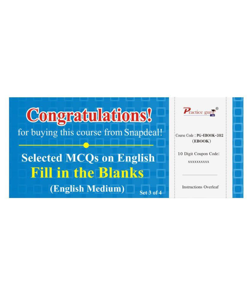 Selected MCQs on English - Fill in the Blanks Set 3 of 4 License/Redemption Code - Online