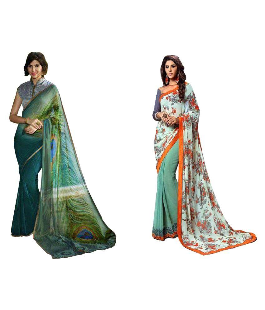 The Lugai Fashion Multicoloured Georgette Saree Combos