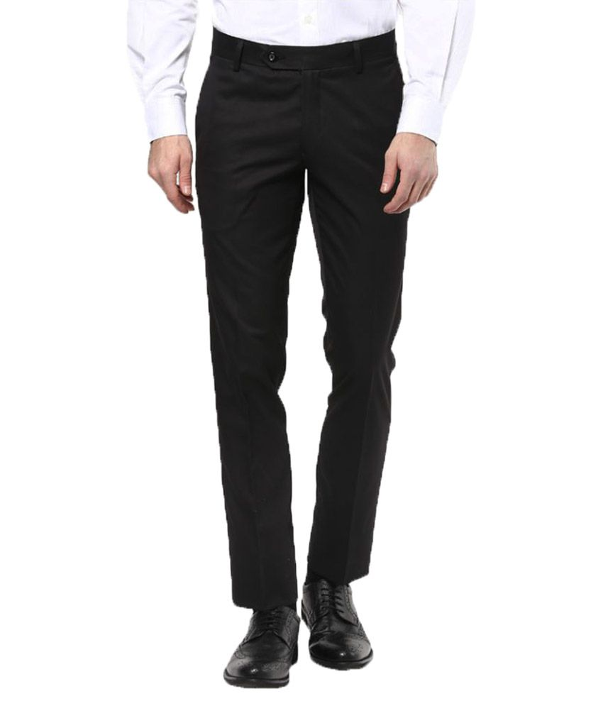 John Players Black Slim Flat Trousers