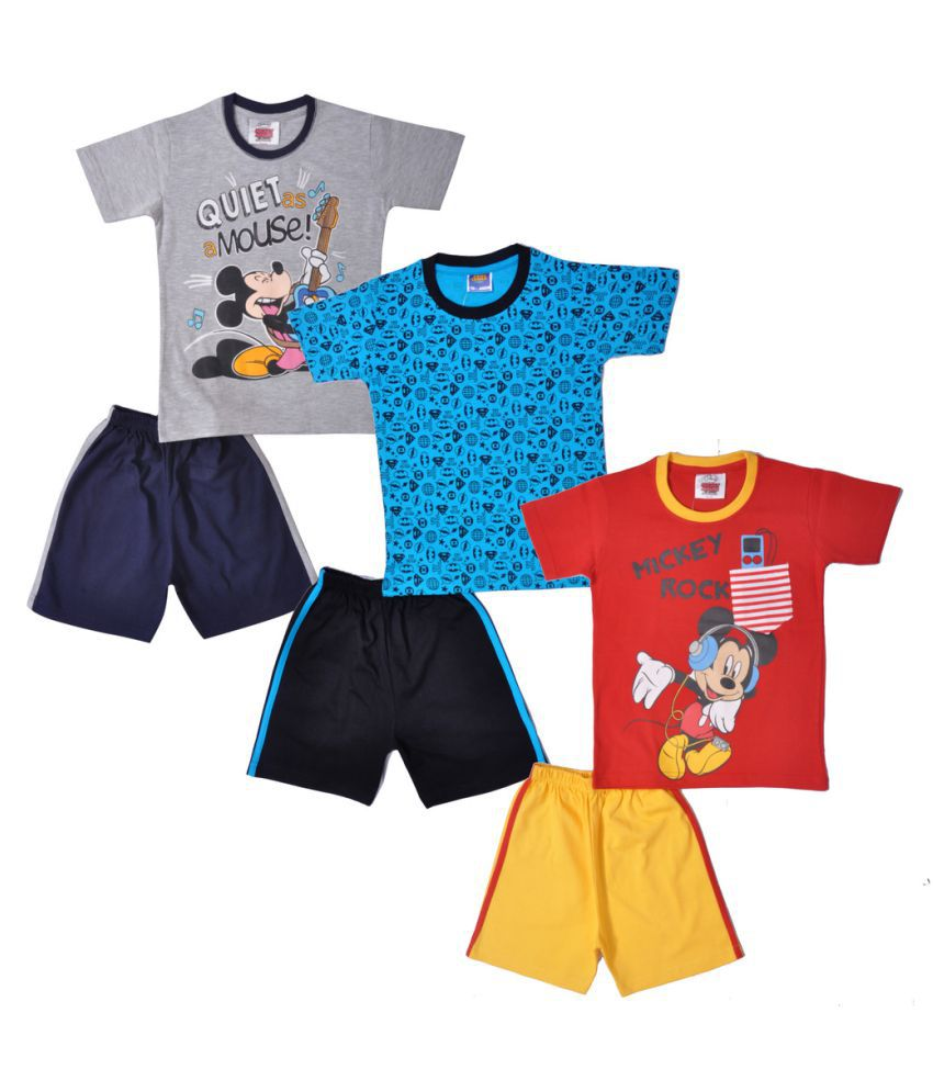 9b6eea5cd25bf Mickey & Friends Boys Half Sleeves Top And Bottom Set Pack Of 3 - Buy  Mickey & Friends Boys Half Sleeves Top And Bottom Set Pack Of 3 Online at  Low Price - ...