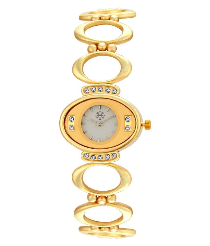 Shostopper Golden Metal Analog Watch + Free Pair of Earrings of Worth INR.199/-