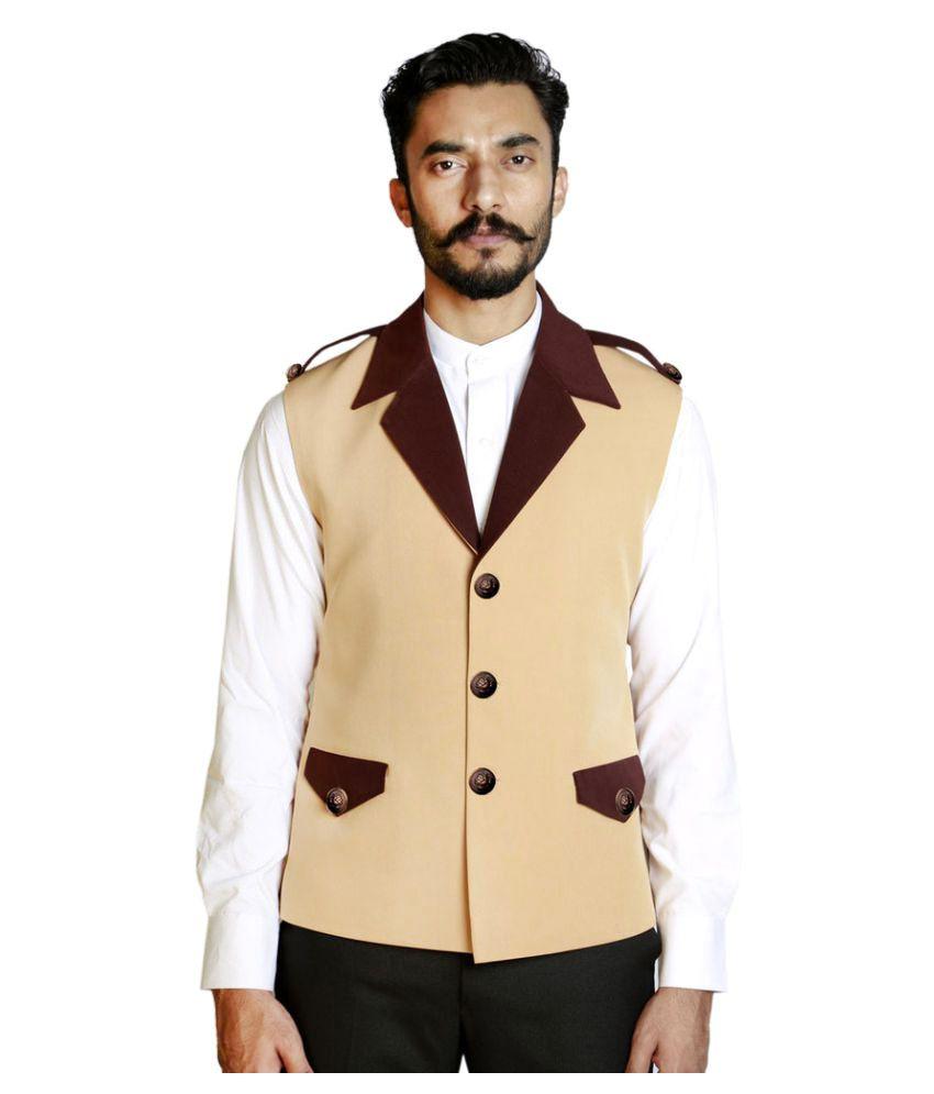 Fusion & Threads Beige Plain Formal Waistcoats