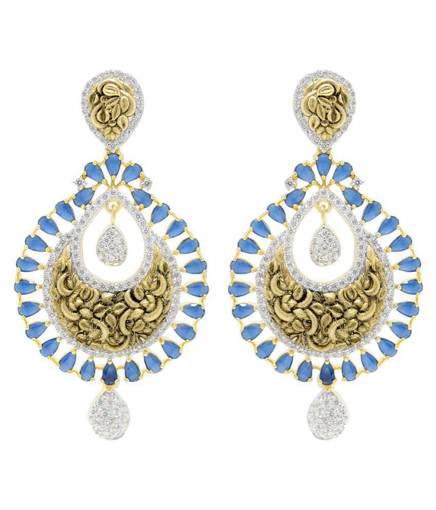 Jewellerkaka Golden Copper Drop Earrings Pair of 2