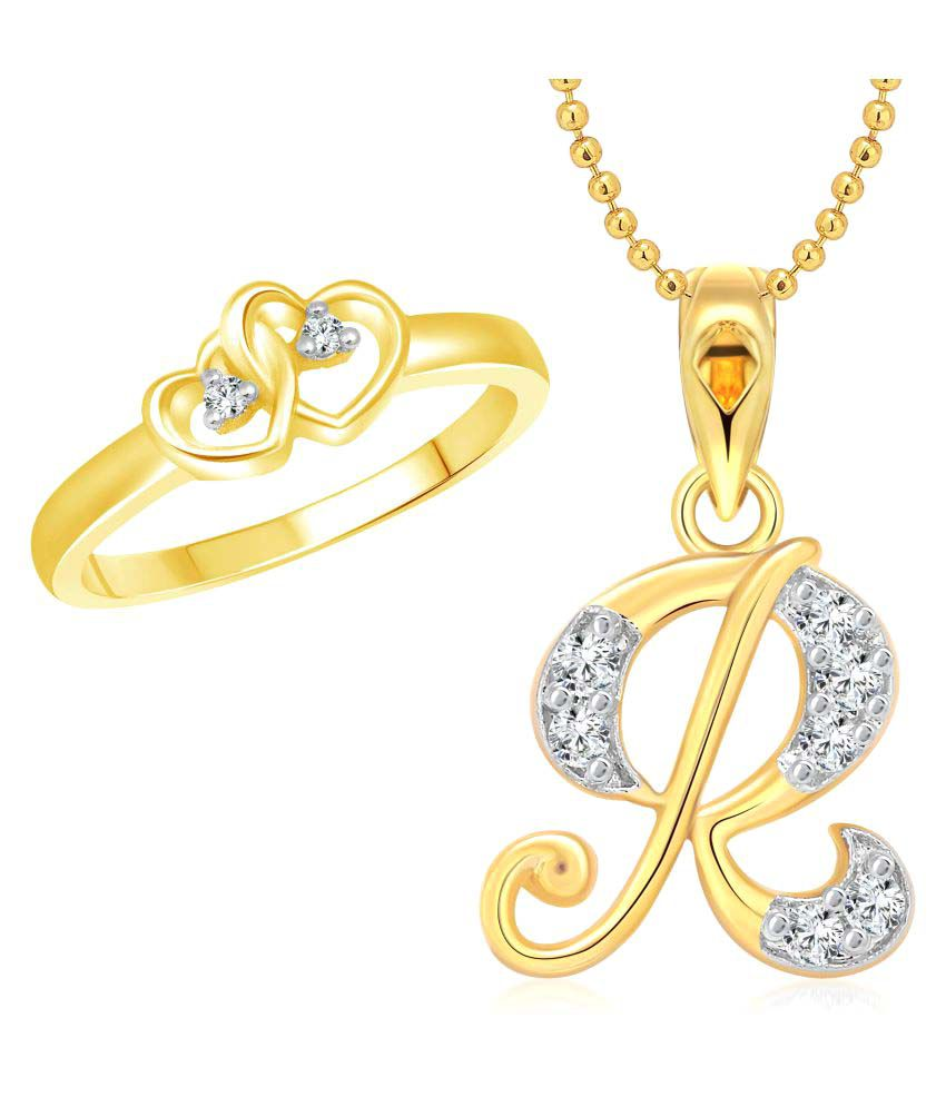 Vighnaharta dual heart ring with initial r letter pendant gold vighnaharta dual heart ring with initial r letter pendant gold plated jewellery thecheapjerseys Image collections