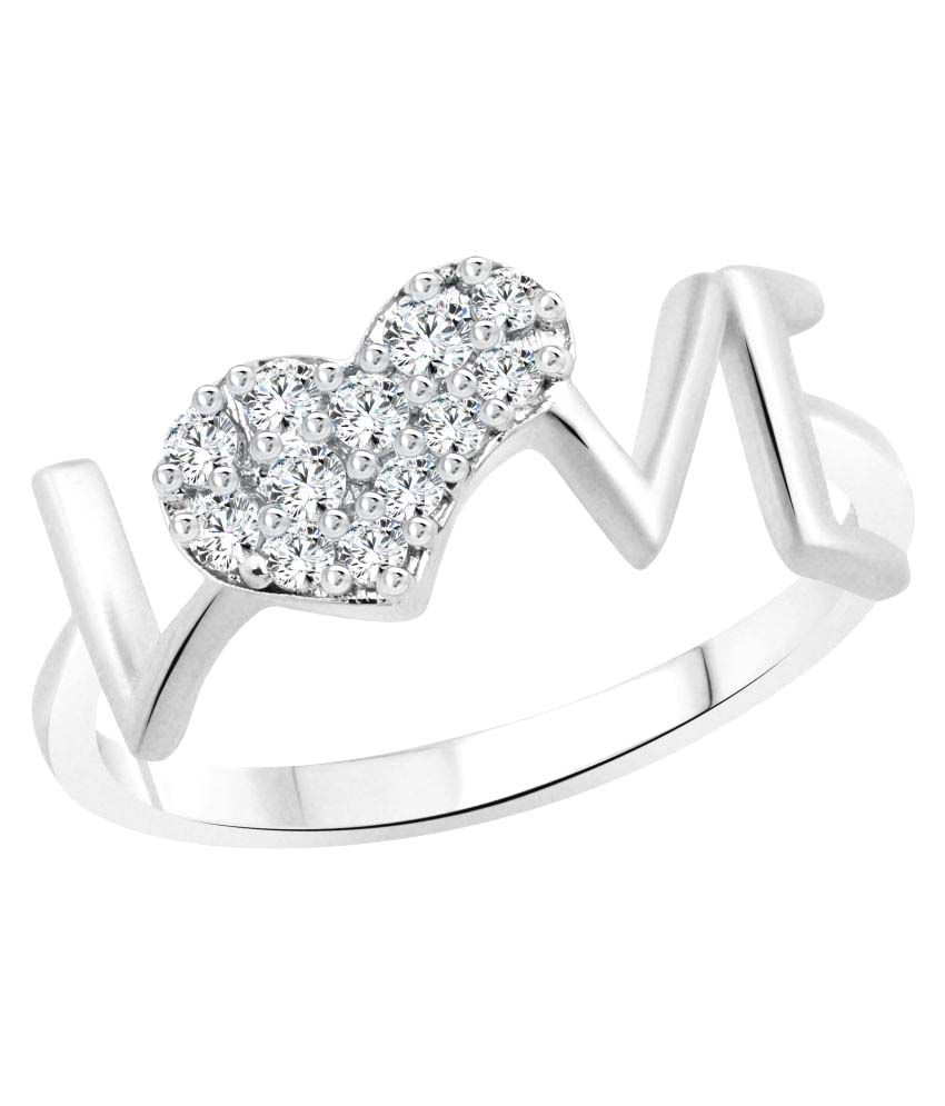 Vighnaharta Love Ring with Initial \'\'A\'\' Alphabet Pendant Rhodium ...