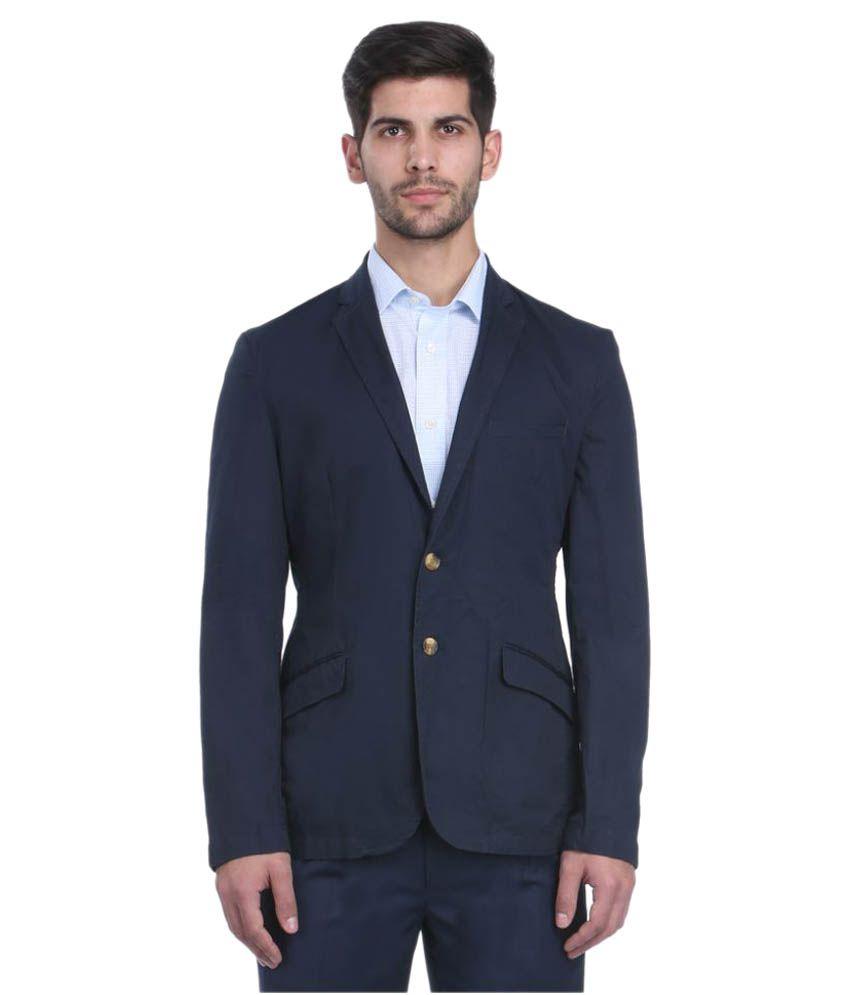 Park Avenue Blue Solid Formal Jackets