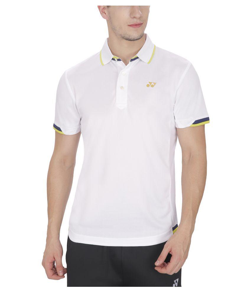 Yonex White Polyester Polo T Shirt