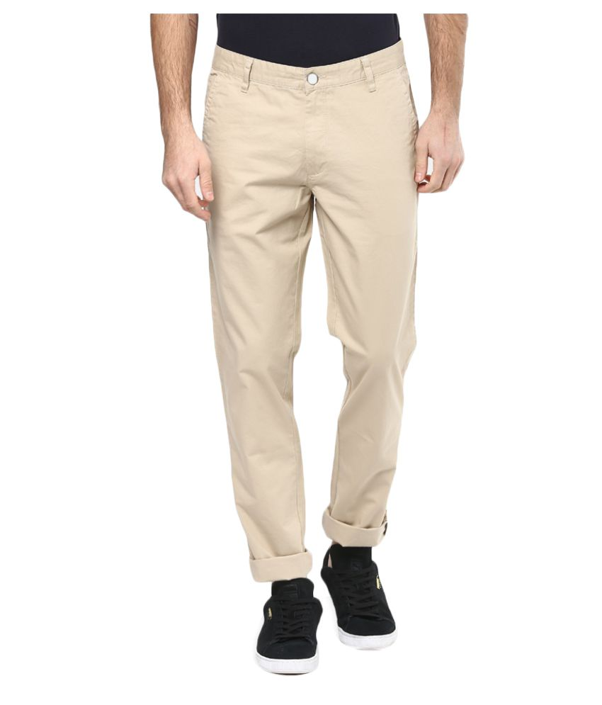 John Players Beige Regular Flat Trousers