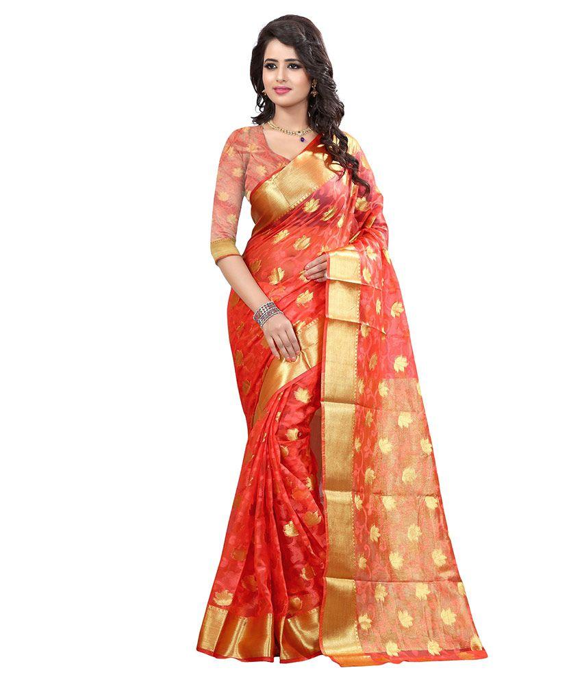 Indicolour Orange Net Saree
