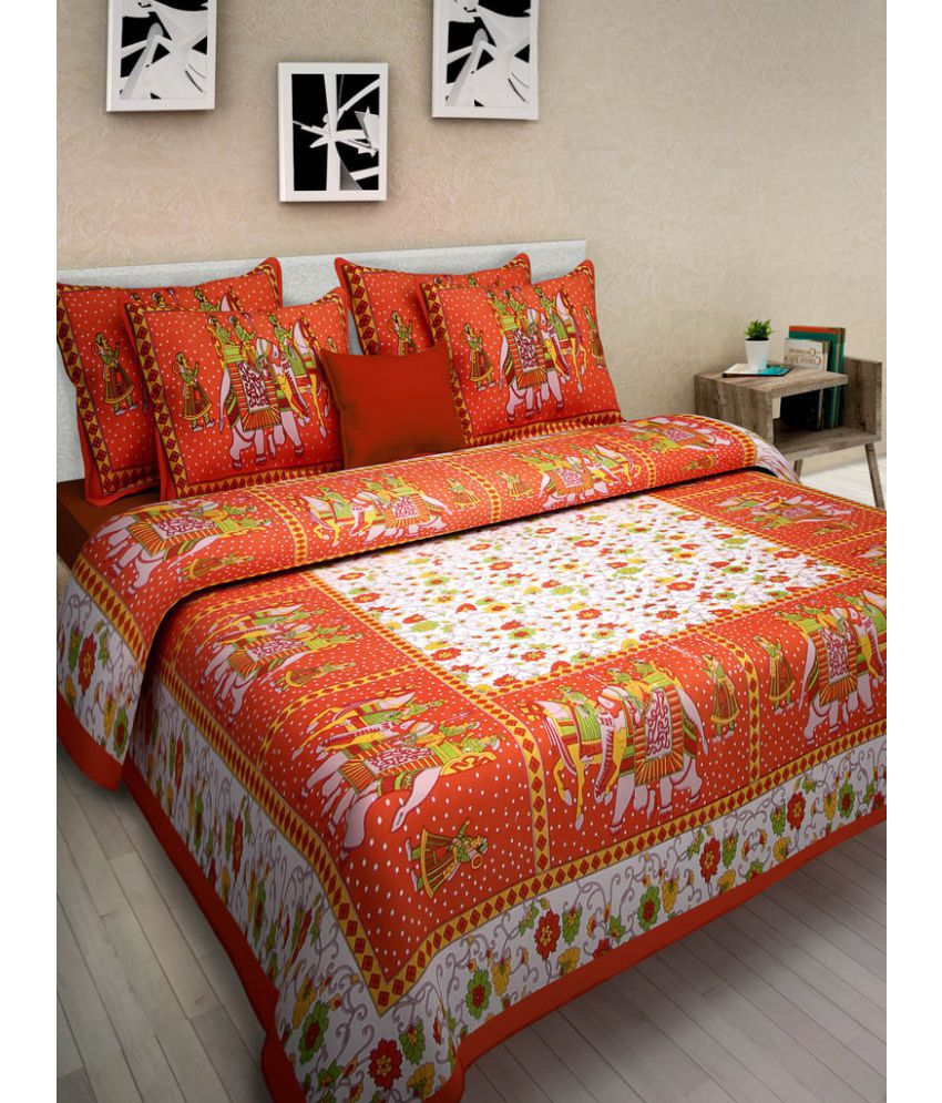 Uniquechoice King Cotton Multi Traditional Bed Sheet Set of 3
