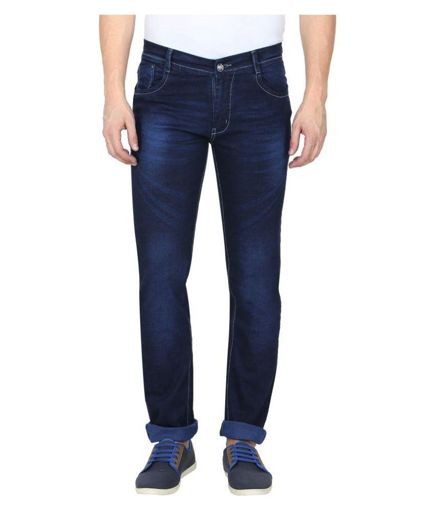 Gradely Navy Blue Regular Fit Jeans