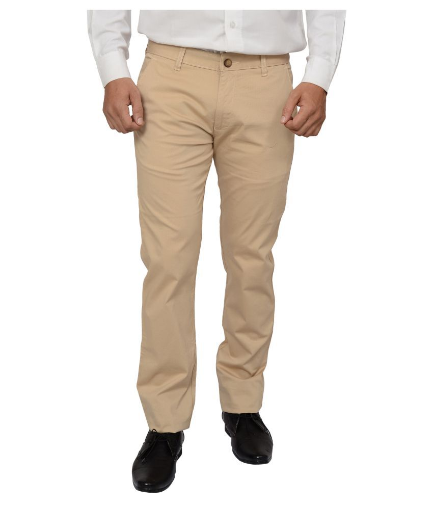 Khaki Blue Beige Regular Flat Trousers
