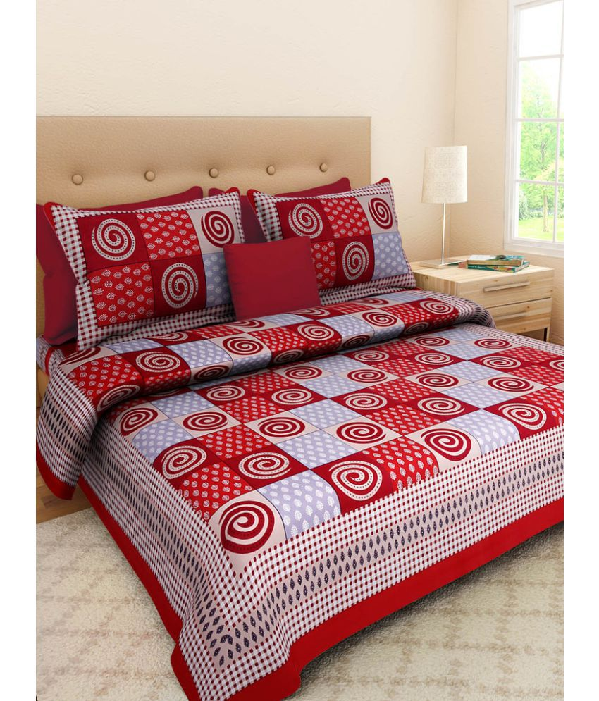 UniqueChoice King Cotton Multi Geometrical Bed Sheet