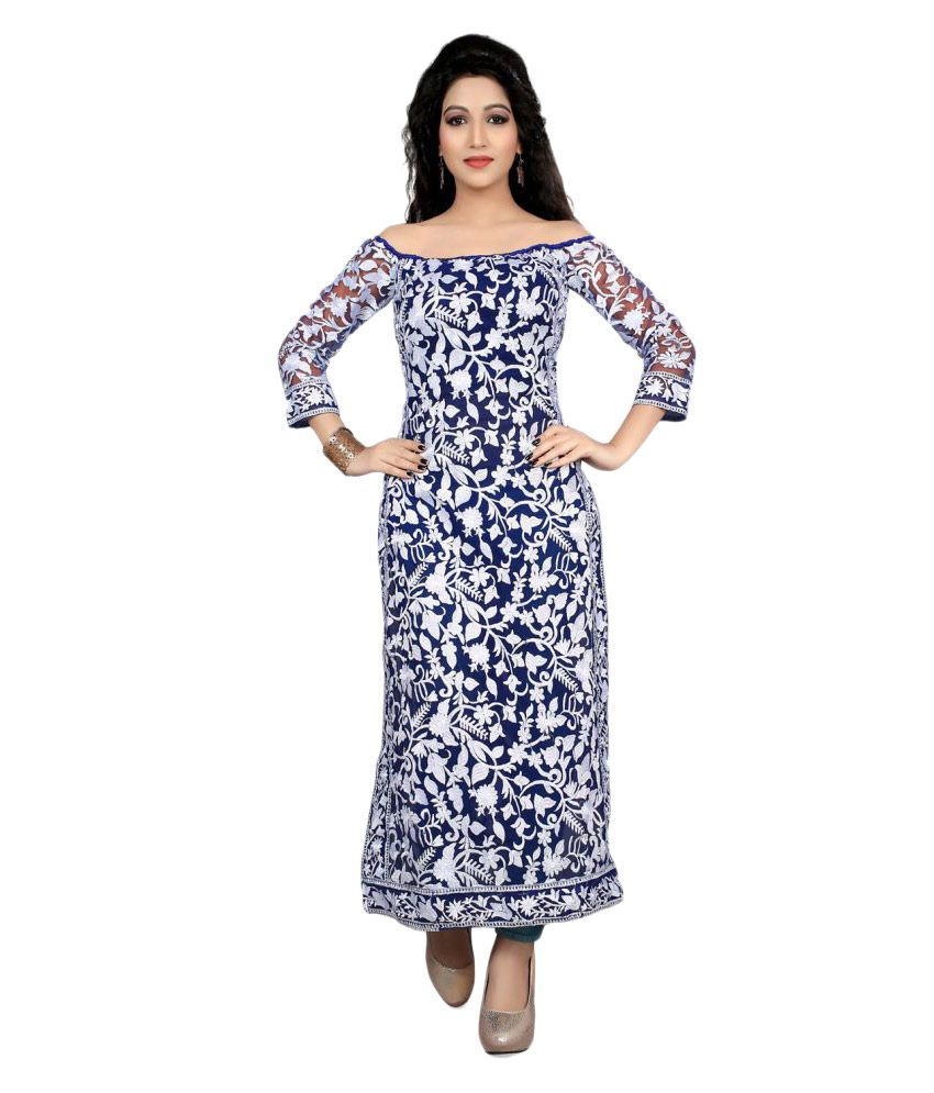 Hans Enterprise Blue Georgette Straight Stitched Suit