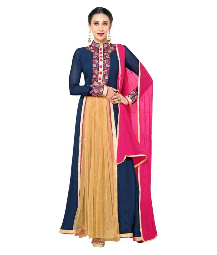Royal Fashion Blue Georgette A-line Stitched Suit