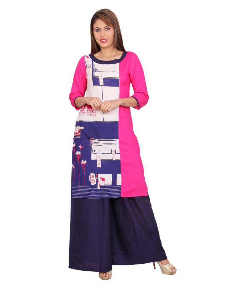 Alook Multicoloured Rayon Straight Stitched Suit