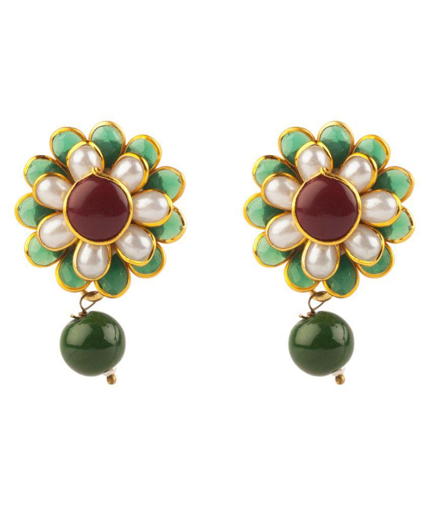 Makezak Multicolour Brass Drop Earrings