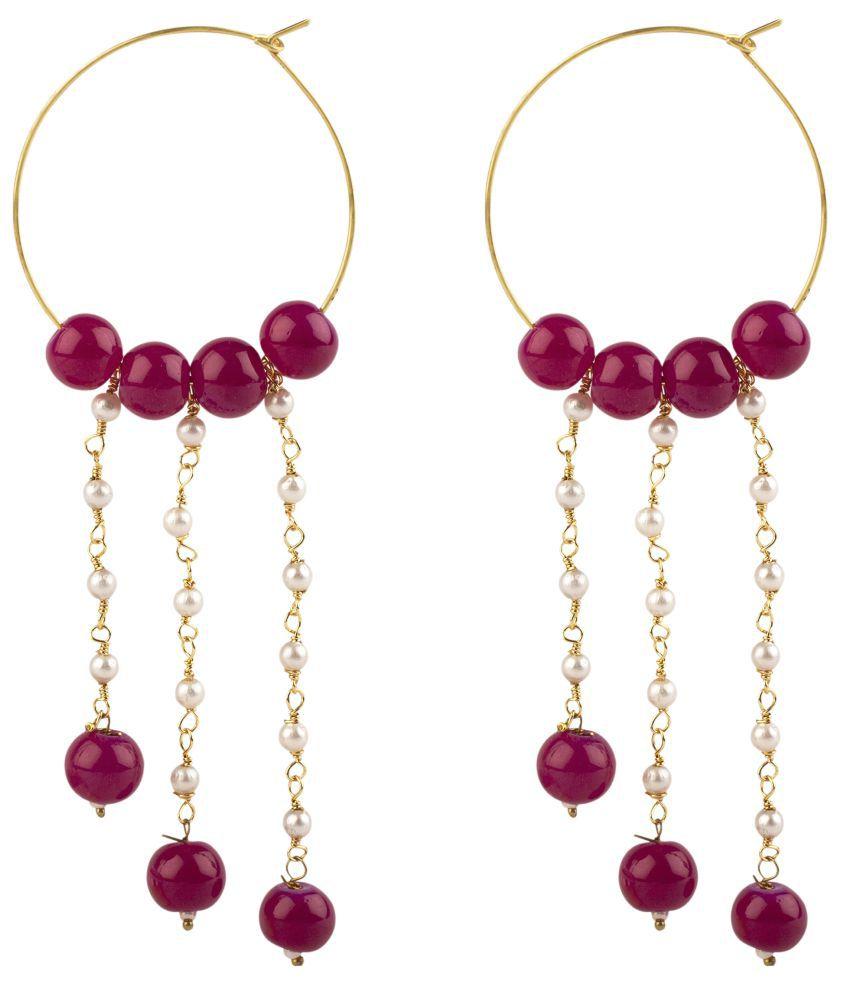 Makezak Maroon Hanging Earrings