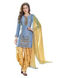 The Ethnic Chic Blue Cotton Dress Material - 661371230075