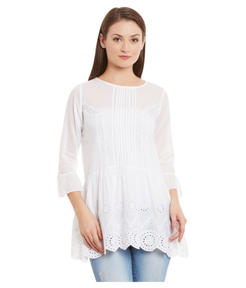 Dharya White Cotton A-line Kurti
