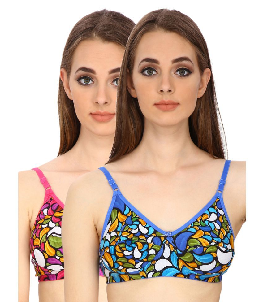 Fashion Pier Multi Color Cotton T-Shirt/ Seamless Bra