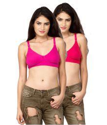 Dreams Pink Cotton Lycra T-Shirt/ Seamless Bra
