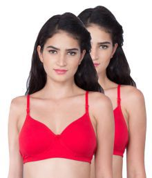 Dreams Red Cotton Lycra T-Shirt/ Seamless Bra - 637959979722
