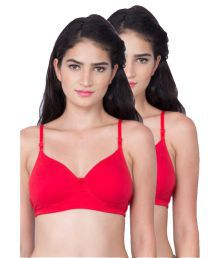 Dreams Red Cotton Lycra T-Shirt/ Seamless Bra
