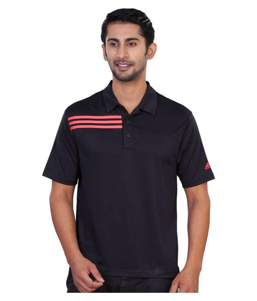 Adidas Black Regular Fit Polo T Shirt