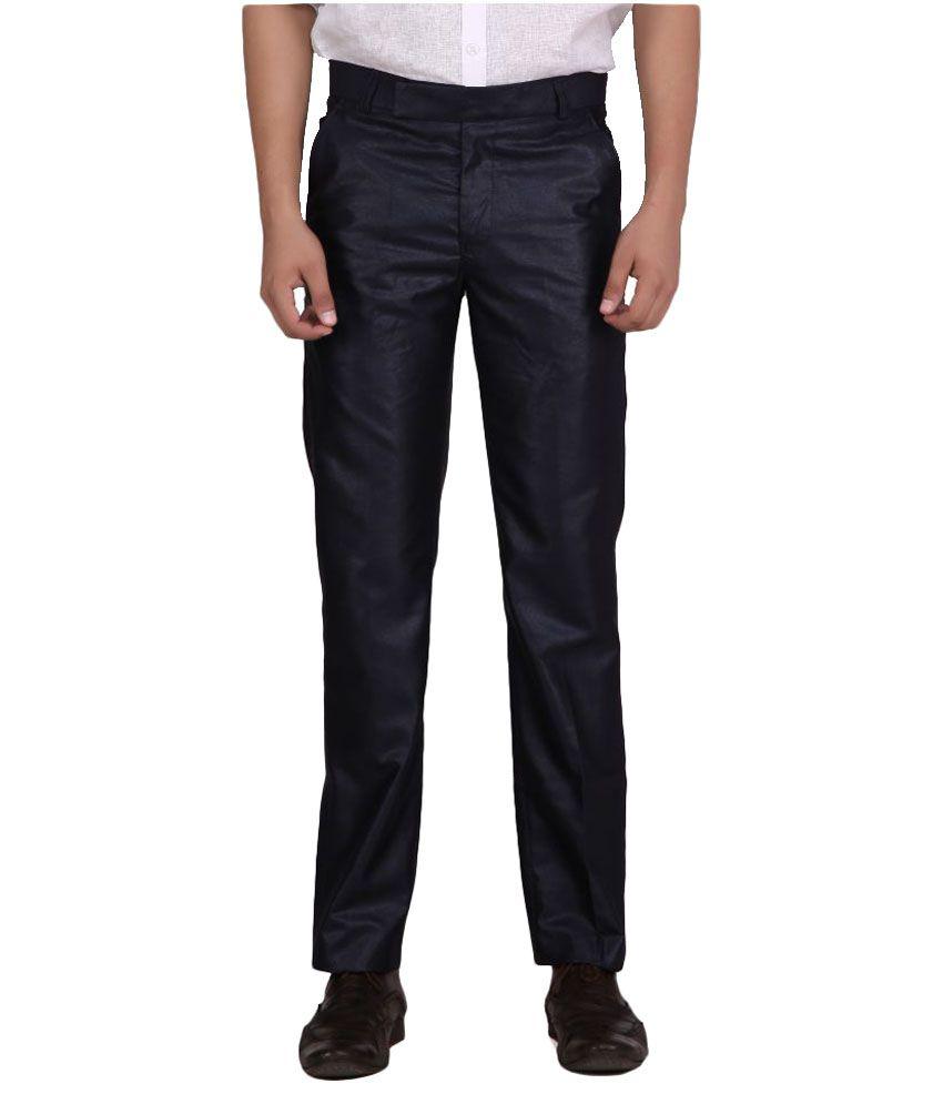 Mr. Closet Black Slim Flat Trouser