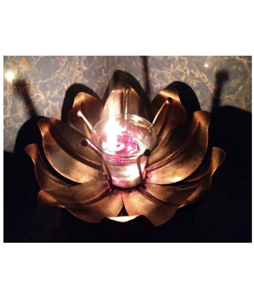 Navo Juno Antique Designer Lotus Flower Diya Deepak Floating Candle